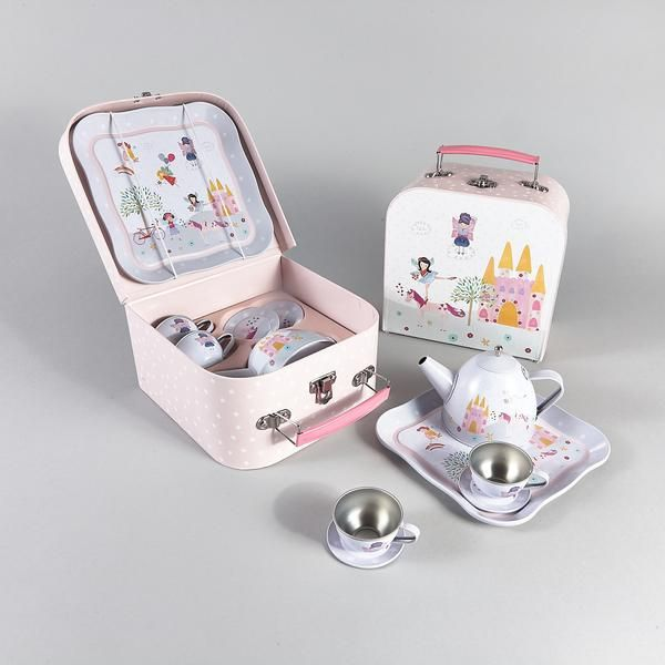 Fairy and Unicorn tin tea set.7 piece in pretty case, suitable for ages 5+