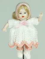 Heidi Ott Miniature Dressed Dolls House Baby Doll. XB043