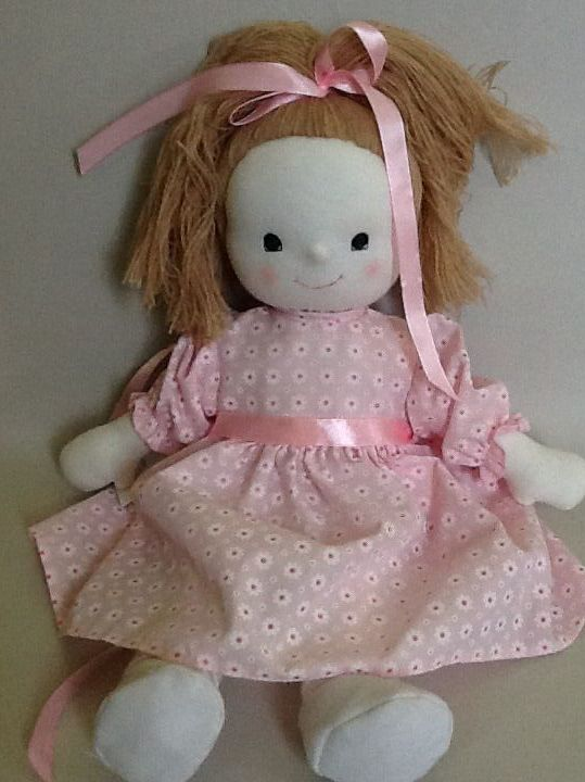Julie a traditional rag doll by Mel and Steff. 36 cm. Dressed in pink.
