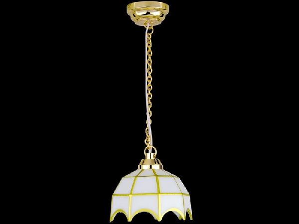 LED dollshouse battery hanging white tiffany lamp.