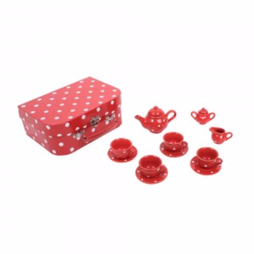 Red Polka Dot Porcelain Dolls Tea set. BJ613