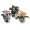 Reutter, Miniature Set of Three Flower Pots and Flowers. 1.458/8