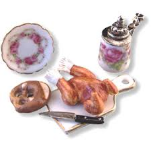 Reutter, Roast Chicken Lunch Set for the Dollshouse. 1.604/8