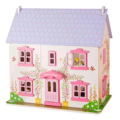 Rose Cottage Dolls House, With Furniture and People. Bigjigs JT101